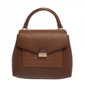 Carolina Herrera Brown Monogram Leather Flap Top Handle Bag