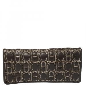 Carolina Herrera Black Monogram Leather Jerry Clutch