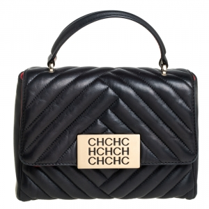 Carolina Herrera Black Quilted Leather Flap Top Handle Bag