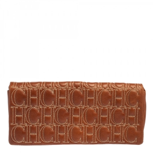 Carolina Herrera Brown Monogram Leather Clutch