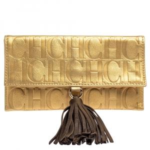 حقيبة كلتش كارولينا هيريرا جلد مونوغرامي ذهبي بشراشيب