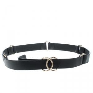 Chanel Black Leather CC Belt 90cm