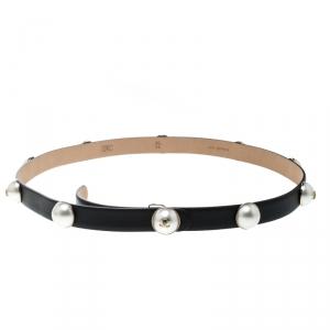 Chanel Black  Leather Pearl Embellished Belt 90 cm
