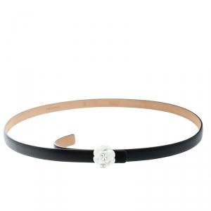 Chanel Black Leather Camellia Skinny Belt 95cm