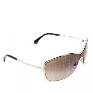 Chanel Gold/Brown Gradient Monogram 71212 Shield Sunglasses