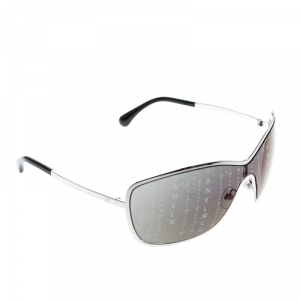 Chanel Silver/Black Monogram 71212 Shield Sunglasses