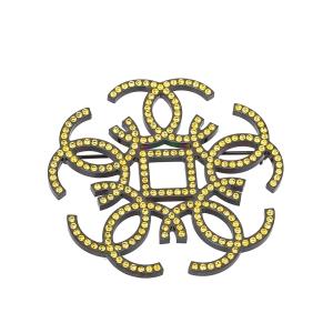 Chanel CC Yellow Crystal Black Tone Pin Brooch