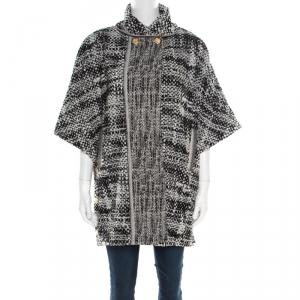 Chanel Monochrome Cotton Terry Roll Collar Cape Coat M
