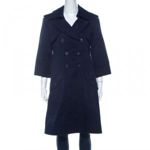 Chanel Indigo Blue Cotton Twill Double Breasted Trench Coat L