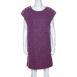 Chanel Purple Metallic Tweed Tunic Dress M