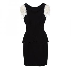 Chanel Black Silk Lace Sleeve Detail Boat Neck Peplum Dress S