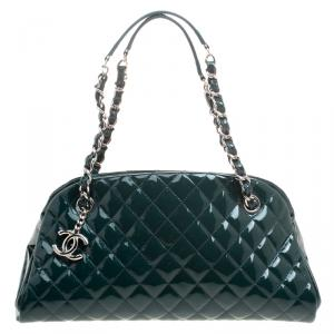Chanel Green Quilted Patent Leather Medium Just Mademoiselle Bowling Bag