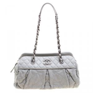Chanel Grey Quilted Iridescent Leather Chic Quilt Bowling Bag