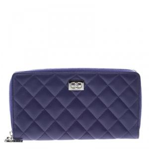 Chanel Purple Quilted Leather Reissue Zip Around Wallet