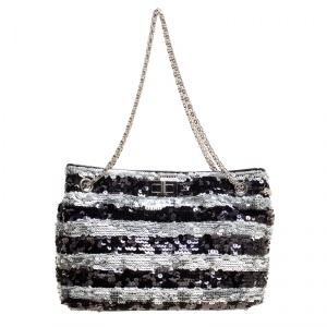 Chanel Black/Grey Striped Sequins Small Reissue Tote