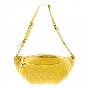 Chanel Yellow Quilted Leather Waist Bag