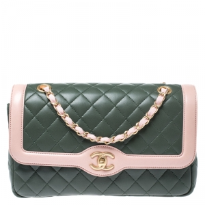 Chanel Green/Pink Quilted Lambskin Leather Medium Single Flap Bag