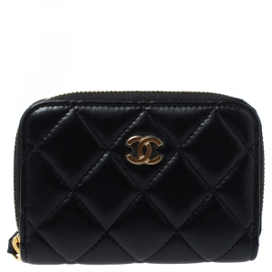 Chanel Black Quilted Leather Zip Around Coin Purse