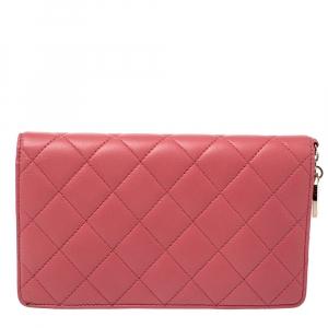 Chanel Pink Leather Porte Bonheur Bifold Wallet