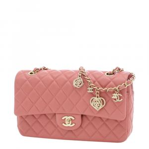 Chanel Pink/Champagne Gold Quilted Leather Shoulder Bag