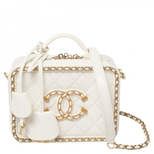 Chanel White Quilted Leather CC Filigree Chain Around Vanity Case Bag