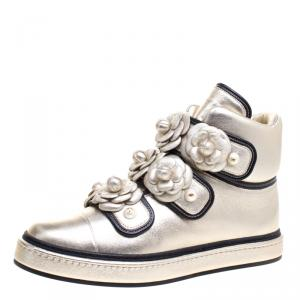 Chanel Gold Metallic Leather Camellia Flowers Embellished High Top Sneakers Size 39.5