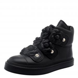 Chanel Black Leather Camellia Flowers Embellished High Top Sneakers Size 37.5