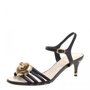 Chanel Black Leather Floral Embellished Ankle Strap Sandals Size 38.5