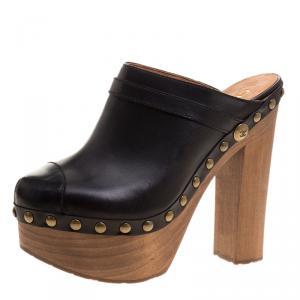 Chanel Black Leather Platform Wooden Clogs Size 40