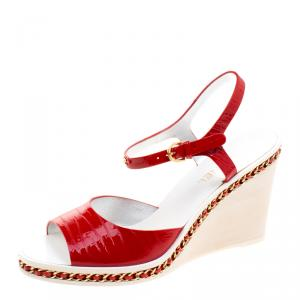 Chanel Red Patent Leather Chain Detail Ankle Strap Wedge Sandals Size 40.5