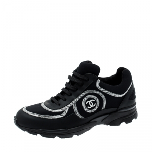 Chanel Black Leather And Fabric Low Top Sneakers Size 39.5