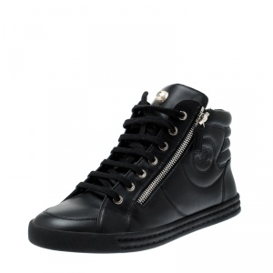 Chanel Black Leather CC Double Zip Accent High Top Sneakers Size 39