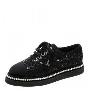 Chanel Black Sequin Embellished Tweed Fabric and  CC Faux Pearl Trim Platform Sneakers Size 38