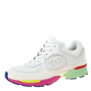 Chanel White Mesh And Leather CC Multicolor Sole Lace Up Sneakers Size 37.5