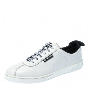Chanel White Leather Weekender Lace Up Sneakers Size 40