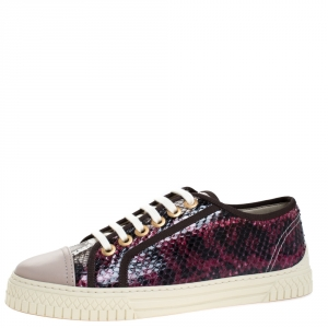 Chanel Multicolor Python And Leather Cap Toe Low Top Sneakers Size 37