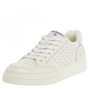 Chanel White Leather Low Top Sneakers Size 37