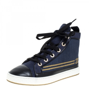 Chanel Blue/Black Canvas and Leather High Top Sneakers Size 36.5