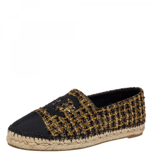 Chanel Black/Gold Tweed And Fabric CC Flat Espadrilles Size 39