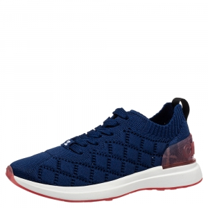 Chanel Blue Knit Fabric CC Low Top Sneakers Size 36.5