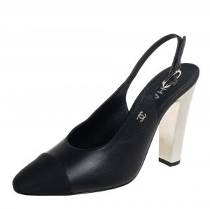 Chanel Black Leather CC Block Heel Slingback Sandals Size 39.5