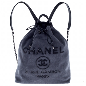 Chanel Grey Canvas Deauville Backpack