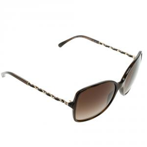 Chanel Brown 5210-Q Tortoise Shell Chain Detail Square Sunglasses