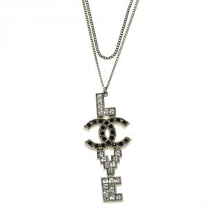 Chanel CC Love Crystal Silver Tone Double Strand Necklace