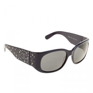 Chanel Navy Blue Crystal CC Logo Square Sunglasses
