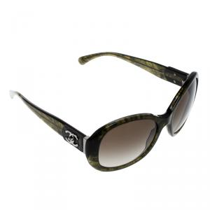 Chanel Green 5235-Q CC Tweed Turnlock Sunglasses