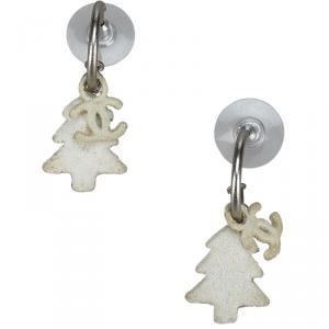 Chanel CC Tree Silver Tone Drop Earrings