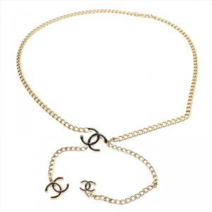 Chanel Black Enamel CC Gold Tone Chain Belt