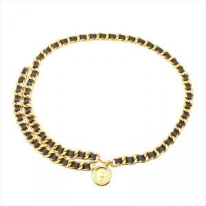 Chanel Black Leather CC Medallion Chain Belt