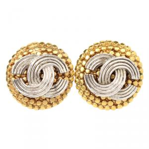 Chanel CC Silver and Gold Tone Stud Earrings